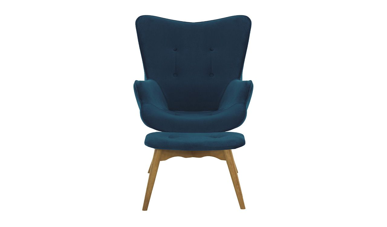 Dakota Velvet Wingback Chair + Footstool